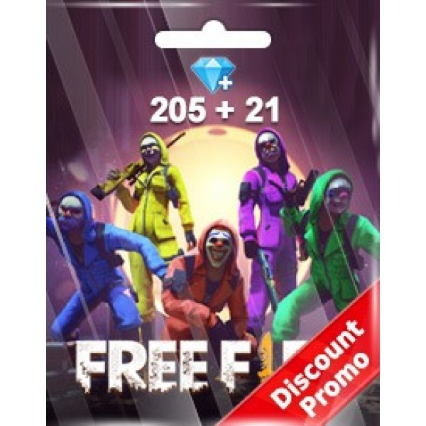 Free Fire 205 + 21 Diamonds Pins (Garena)