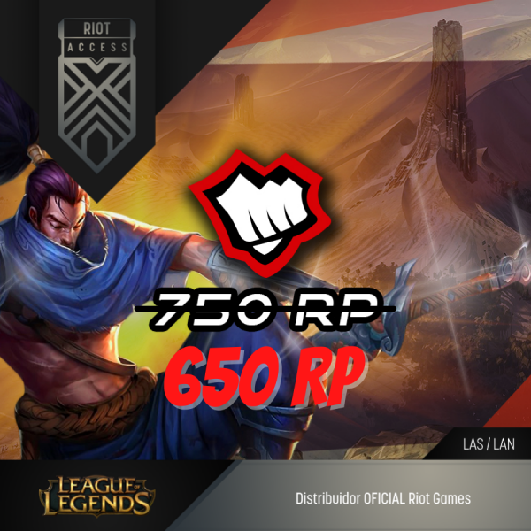 650 Riot Points League Of Legends Lol - OFICIAL